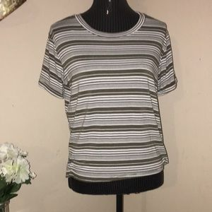 Cute love j green and white striped top